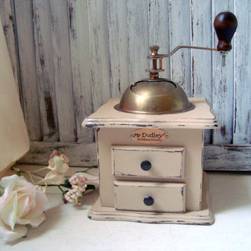 Vintage Coffee Grinder, Hand Painted Coffee Mill, Shabby Chic Light Tan Mr Dudley International Wooden Coffee Mill, Wedding Gift Ideas