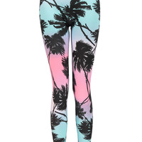 Miami Palm Tree Print Leggings