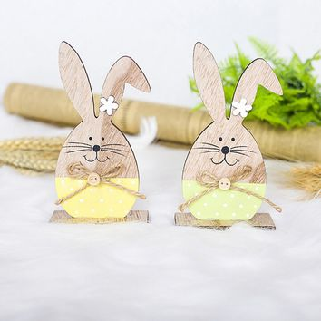 2pcs Easter Decorations Wooden Rabbit Shapes Ornaments Craft  Gifts