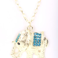 Gold Blue High Polish Metal Elephant Pendant Necklace