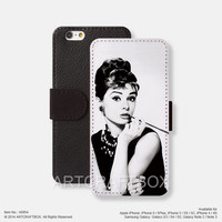 Smoking Audrey Hepburn iPhone Samsung Galaxy leather wallet case cover 054