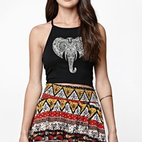 LA Hearts Elephant Crisscross Goddess Neck Cropped Tank Top - Womens Tee - Black