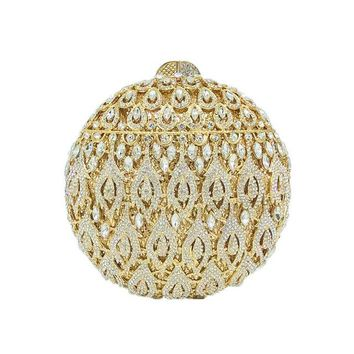 Family Friends party Board game Boutique De FGG Round Shape Hollow Out Women Gold Evening Bag Minaudiere Clutch Wedding Bridal Crystal Purse Handbag AT_41_3