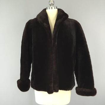 1950s Fur Coat / Sheared Lamb Mouton / Fur Jacket / Chocolate Brown / Winter Wedding / Mid-Century Mad Men