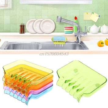 Bathroom Draining Soap Box Kitchen Sink Sponge Drainage Dish Holder R06