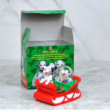 Vintage McDonalds Walt Disney 101 Dalmatians Snow Dome Dog Sledding 1996