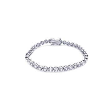 .925 Sterling Silver Rhodium Plated Clear Cubic Zirconia Bubble Tennis Bracelet