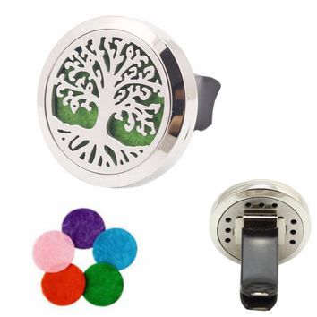 316L Stainless Steel Tree of Life Essential Oil Car Diffuser Locket Vent Clip with 10 Free Oil Pads