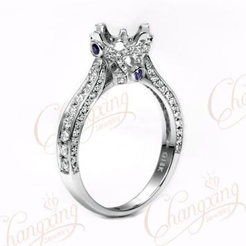 6.3mm Round Cut 18k White Gold Natural 0.67ct Diamond Sapphire Semi Mount Ring