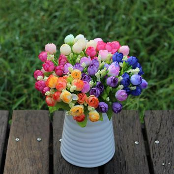 Spring Green 15 heads/bouquet small bud roses bract simulation flowers silk rose decorative Flowers Home decorations for Wedding