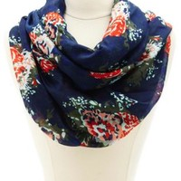 Shadow Dot Floral Print Infinity Scarf by Charlotte Russe - Navy