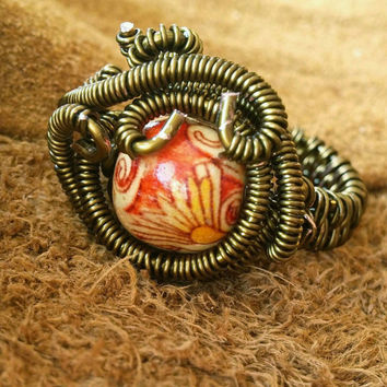 Steampunk Ring | Brass Colored Steampunk Ring | Beaded Wire Weave Ring | Beaded Wire Wrap Ring | Wire Wrap Steampunk Ring | Red and Brass