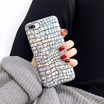 Holographic Crocodile Pattern Soft Phone Case For iPhone 8 7 Plus