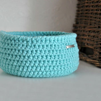 Small Light Turquoise Basket Catchall Storage Bin Modern Decor with Peace Embellishment
