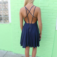 Lambert Cove Navy Criss Cross Back Flare Dress