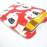 Elephant red slim card wallet, portefeuille, grab and go fabric card case, business card holder, id1360683, front pocket wallet, moneystash