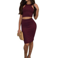 Women Club Two Piece Skirt Set New Summer Outfits High Elastic Sexy Sleeveless Red Crop Top+Bodycon Midi Skirt Suits