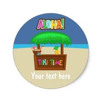 Kids Hawaiian Luau Party Classic Round Sticker