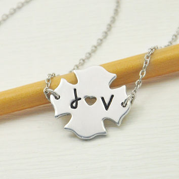 Firefighter's Girlfriend Necklace, Fireman Necklace, Initial Necklace, Cut Out Heart Necklace, Fireman's Jewelry