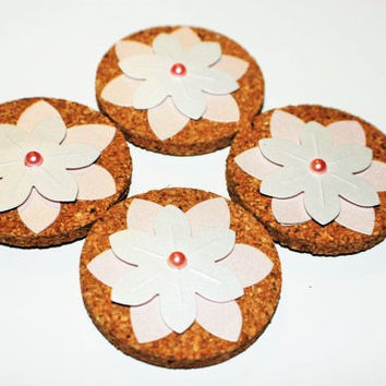 Decorative Pink and White Flower Cork Magnets - 4 Pack!