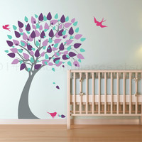 Beautiful modern shades of purple tree with birds wall decal, decal, wall sticker, wall graphic, vinyl decal, vinyl wall decal, kids room