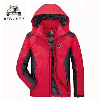 AFS JEEP 76% -80% Duck Down Jacket Men New Hooded Mixed Colors Men Down Jacket Thicken Warm Mens Down Jacket Coat 188 T