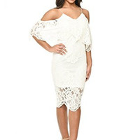 White Spaghetti Strap Layered Lace Bodycon Dress