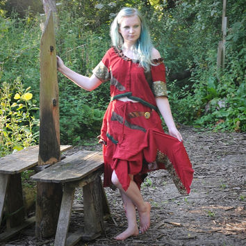Silk gypsy dress Dark red fairy pirate costume Bohemian gypsy clothing Festival outfit Fairy dress Pirate princess Size Large L