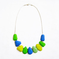 Polymer Clay Necklace, Blue Green Necklace, Gem Candy Collection