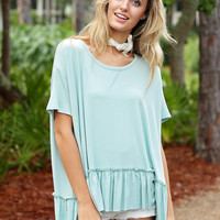 Ruffle Hem Lace Up Tee