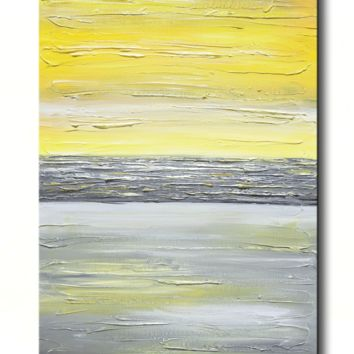 GICLEE PRINT Art Abstract Yellow Grey Painting Vertical Wall Art Canvas Prints Urban Gold White