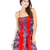 RED PAISLEY TIE BACK CASUAL DRESS D6429 Summer Dress Women Party Evening Day Time Sleeveless Beach Mini Short