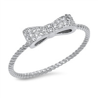 925 Sterling Silver CZ Simulated Diamond 3MM Twisted Ribbon Bow Tie Ring