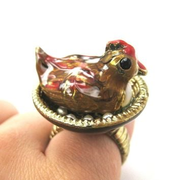 Mother Hen Realistic 3D Chicken Ring | Limited Edition Animal Jewelry