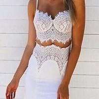 White Lace Two Piece Bra Bustier Crop Top Double Slit Maxi Skirt Dress