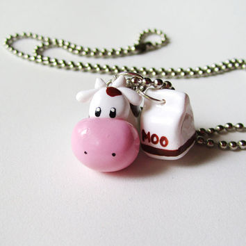 Brown Cow and Chocolate Milk Charms Necklace