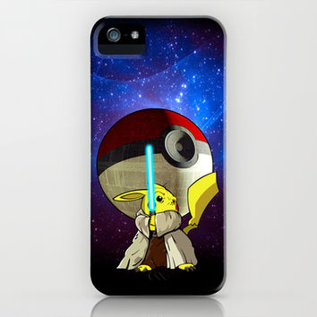 Jedi Pokemon Pikachu with Giant Death star pokeball Planet apple iPhone 4 4s, 5 5s 5c, iPod & samsung galaxy s4 case by Three Second