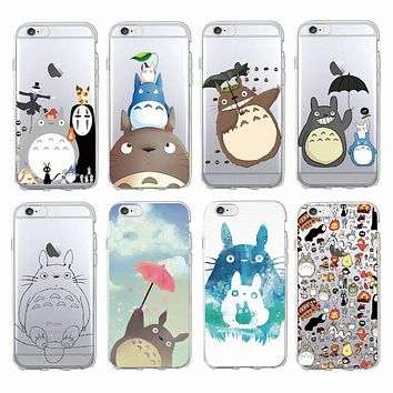 Cute Totoro Spirited Away Ghibli Miyazaki Anime Soft Clear Phone Case For iPhone 7 7Plus 6 6S 6Plus 5 5S 8 8Plus SAMSUNG