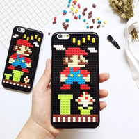 Cartoon Diamond Blocks DIY Case For iPhone