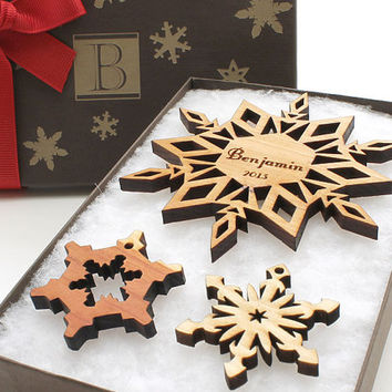 Personalized Christmas Ornament Snowflake Gift Box - Custom Monogram Lid Holiday Gift