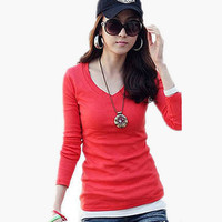 Solid V-Neck Long Sleeve Fitted Top