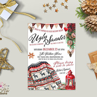 Ugly Christmas Sweater Invitation Printable Ugly Sweater Party Invitation Holiday Party Invite Christmas Party Invites / Digital or Printed