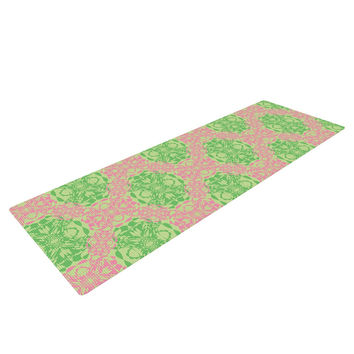 "Mydeas ""Diamond Illusion Damask Watermelon"" Pink Green Yoga Mat"