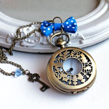 Alice in Wonderland White Rabbit Watch  necklace blue bow