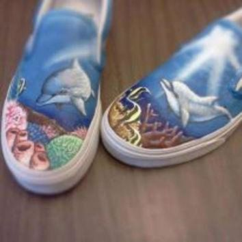 CREYONS Custom Vans Shark Sea Life Hand painted Shoes Ocean Painting Kicks Unique Dolphin Snea