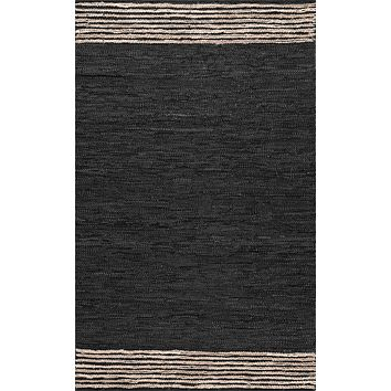 nuLoom Hand Braided Jute Leather Kelli Area Rug