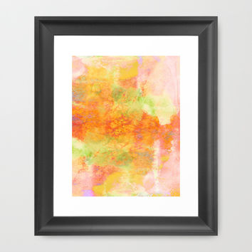 PASTEL IMAGININGS 3 Colorful Pretty Spring Summer Orange Yellow Peach Abstract Watercolor Painting Framed Art Print by EbiEmporium