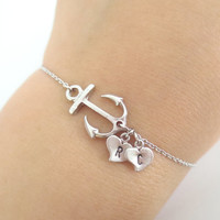 Sweet, Anchor, Heart, Initial, Bracelet, Everyday, Modern, Summer, Jewelry