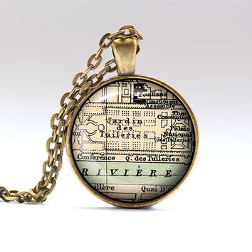 Paris necklace France charm Map jewelry RO610