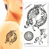 Unicorn Pegasus Horse Temporary Tattoo Body Art Arm Flash Tattoo Stickers 17*10cm Waterproof Fake Henna Painless Tattoo Sticker